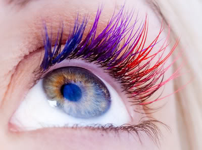 multicolored eyelash extensions
