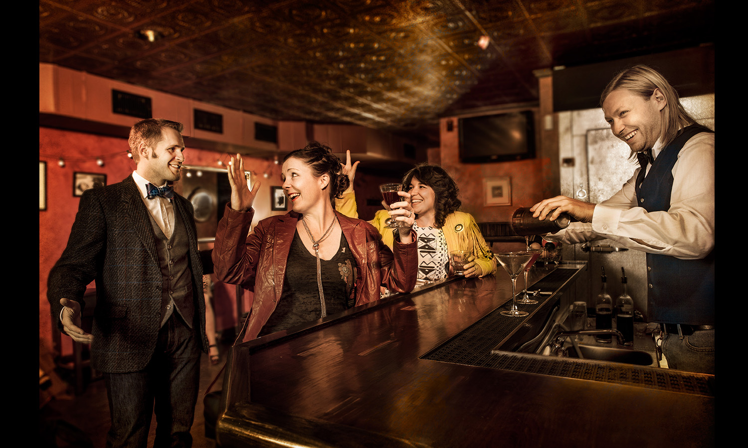 bar scene everyone happy Conceptual