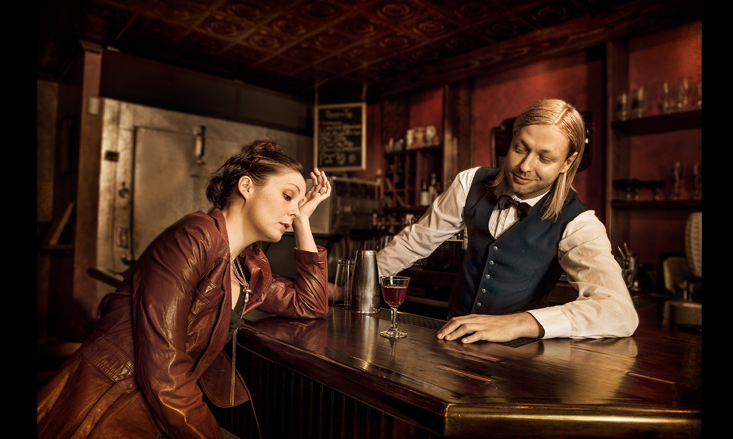 bartender helpingdepressed girl Conceptual