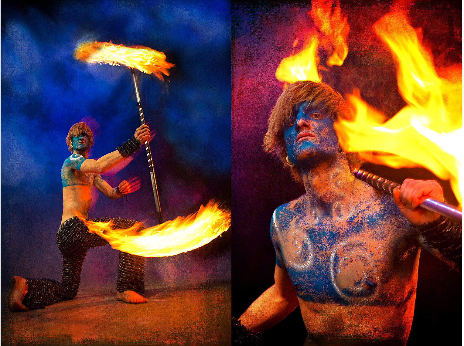 fire dancer covered blue paint Fire Dancers