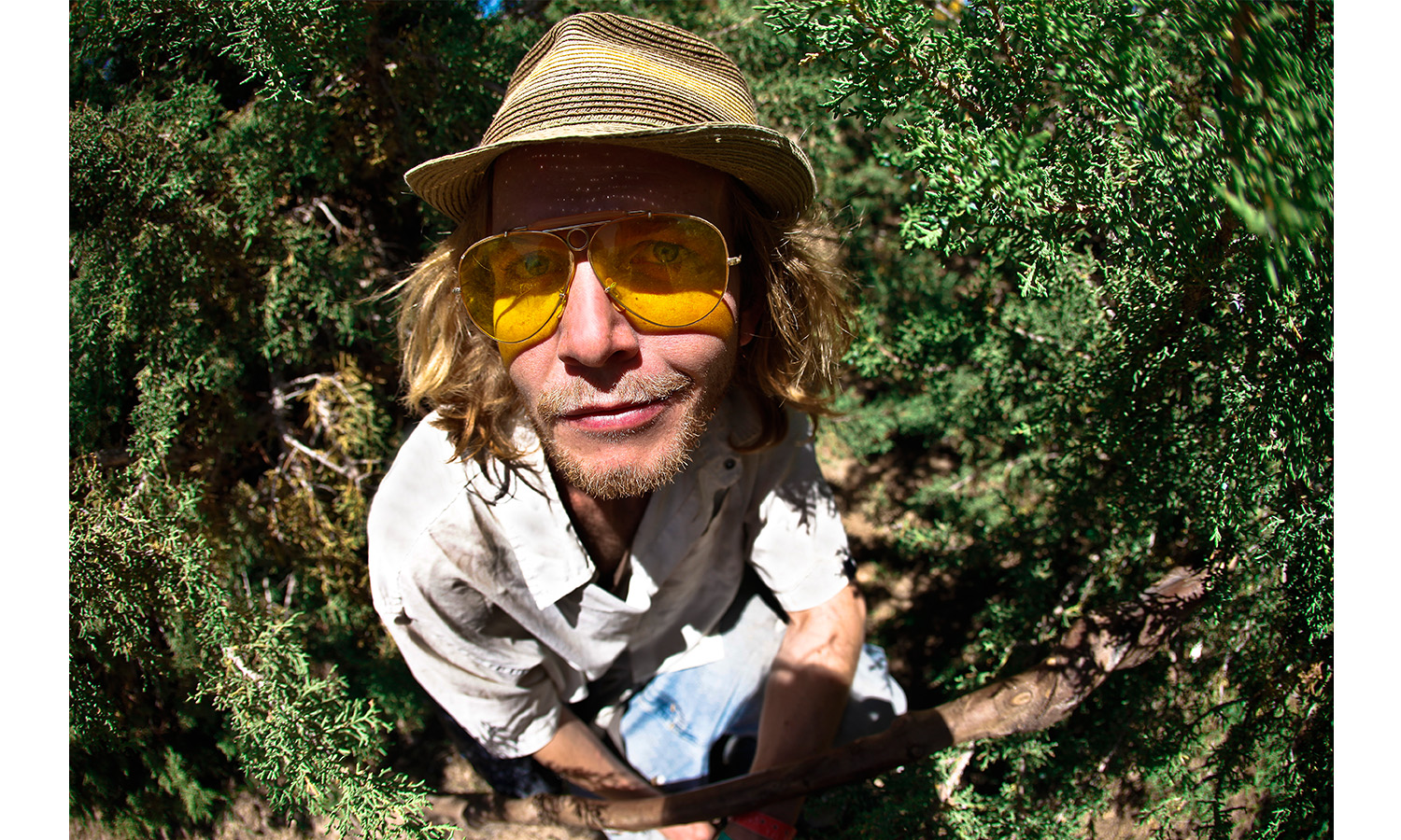 hippie man in bush1 Conceptual